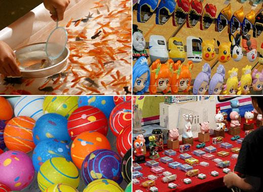 Matsuri fair, Matsuri stalls, Goldfish scooping, water balloon fishing, Cotton Candy, Information, Quoits, Carnival shooting gallery, HIBIYA OED MATSURI