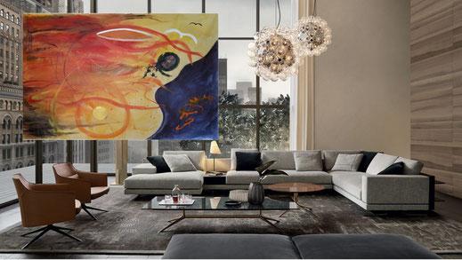 """""""Le intuizioni infinite di Leonardo"""" tecnica mista su tela 200x288 cm. Francesco Cannone artista pittore astratto"""