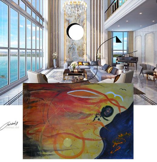 """""""Le intuizioni infinite di Leonardo"""" tecnica mista su tela 288x200 cm. francesco cannone artista pittore abtract artist painter"""