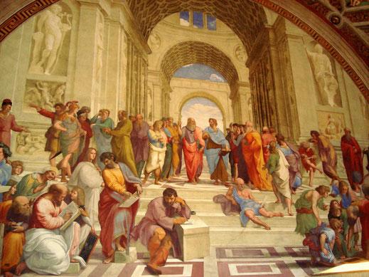 Escuela de Atenas; Rafael; Academia; Platón; Pitágoras; Sócrates; Hipatia; Anaxágoras;