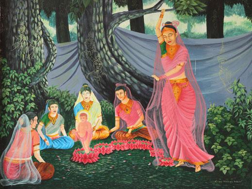 Nacimiento del príncipe Sidharta, el Buda.