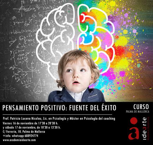 pensamiento positivo; cursos psicología; palma de Mallorca; coaching; éxito;