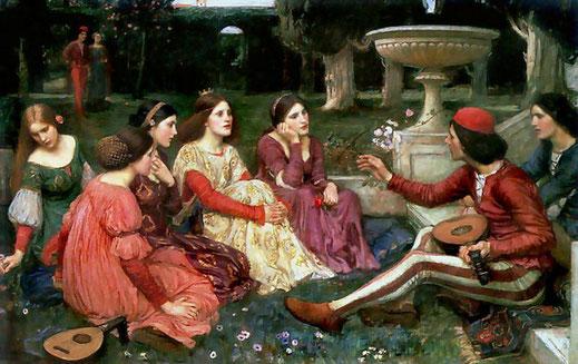 Una escena del Decamerón de Boccaccio.