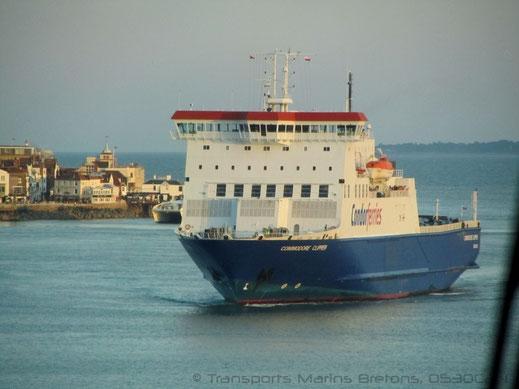 M/V Commodore Clipper arrivant à Portsmouth en provenance de Cherbourg.