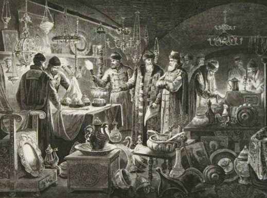 Боярин Федор Иванович Шереметев сдает сохраненные им в Смутное время царские сокровища,рисунок Александра Ефимовича Земцова, гравюра Флюгель