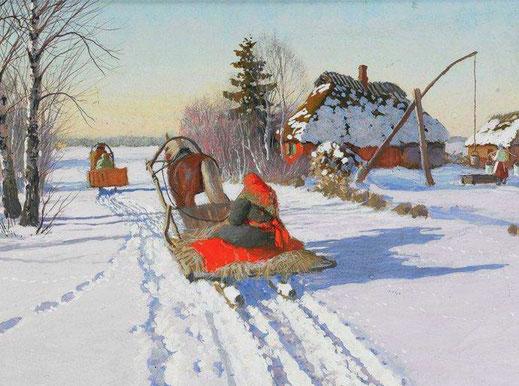 Солнечный зимний день. Художник Егоров А. А.