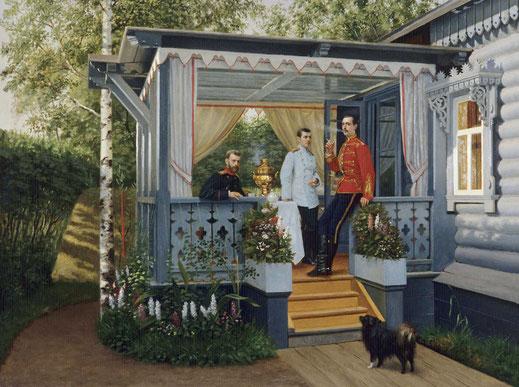Великий князь Сергей Александрович, цесаревич Николай Александрович и великий князь Павел Александрович. Конец 1880-x. Холст, масло
