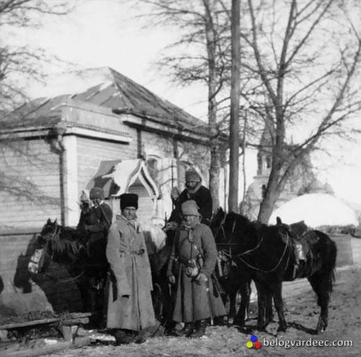 Казаки в зимнем обмундировании, январь 1920 года.