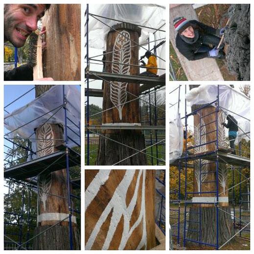 création des plumes sur le tronc du slingshot du parc La Fontaine
