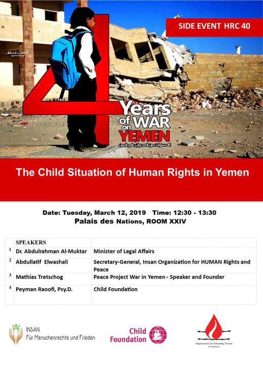 12.03.2019 - Genf, 40. Sitzung des UN-Menschenrechtsrates - Menschenrechte und die Situation von Kindern im Jemen