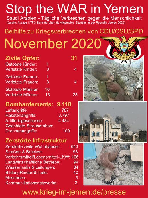 November 2020 - CDU/CSU und SPD, Beihilfe zu US/Saudi-Kriegsverbrechen im Jemen im Jemen