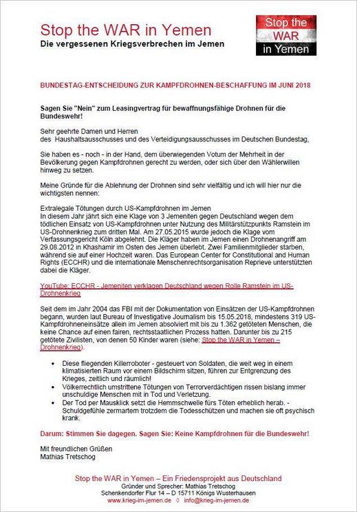 30.05.2018 - Schreiben an alle Abgeordnete des Deutschen Bundestag zur  Beschaffung von Kampfdrohnen für die Bundeswher