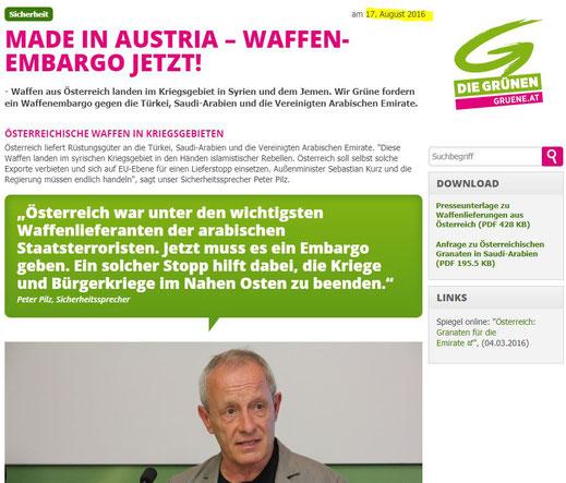 Österreich - Die Grünen fordern Waffenembergo - 17.08.2016