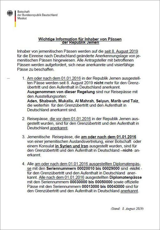 Botschaft der Bundesrepublik Deutschland vom 08.08.2019 - Wichtige Informationen für Inhaber von Pässen der Republik Jemen