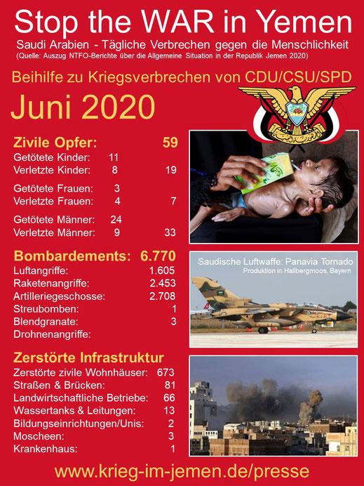 Krieg im Jemen - Juni 2020 - tägliche Kriegsverbrechen der saudischen Kriegskoalition im Jemen