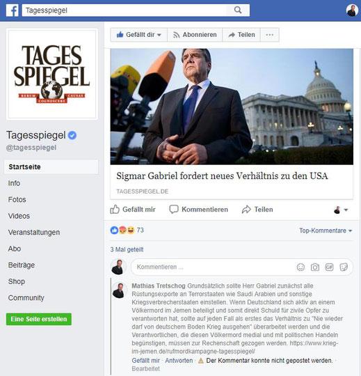 Der Tagesspiegel auf Facebook - Der Tagesspiegel und sein Verhältnis zum Grundgesetz, Presse- und Meinungsfreiheit!