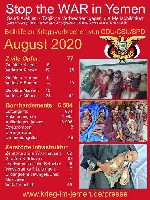 Beihilfe zu Kriegsverbrechen von CDU, CSU und SPD - August 2020