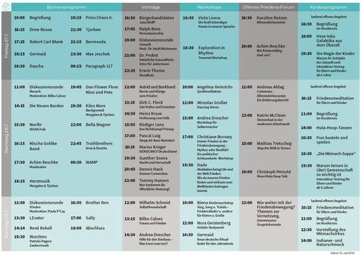 Line up / Programm Friedensfestival Pax Terra Musica 2018