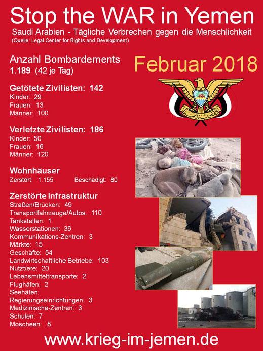 Februar 2018 - Tägliche Verbrechen gegen die Menschlichkeit der saudischen Kriegskaolition im Jemen