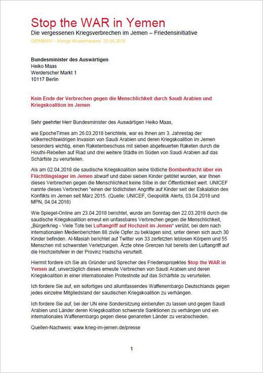 25.04.2018 - Brief an den Bundesminister Auswärtiges Heiko Maas - Kein Ende der Verbrechen gegen die Menschlichkeit durch Saudi Arabien und Kriegskoalition im Jemen