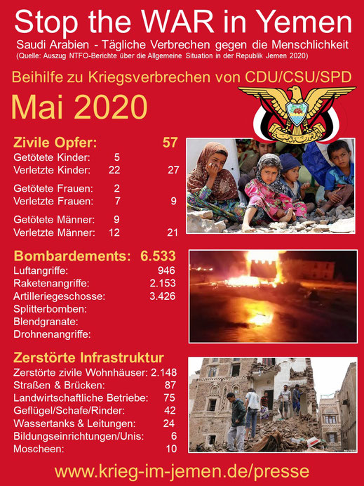 Mai 2020 - Krieg im Jemen - Opferzahlen und Zerstörung der Infrastruktur (Auszug)