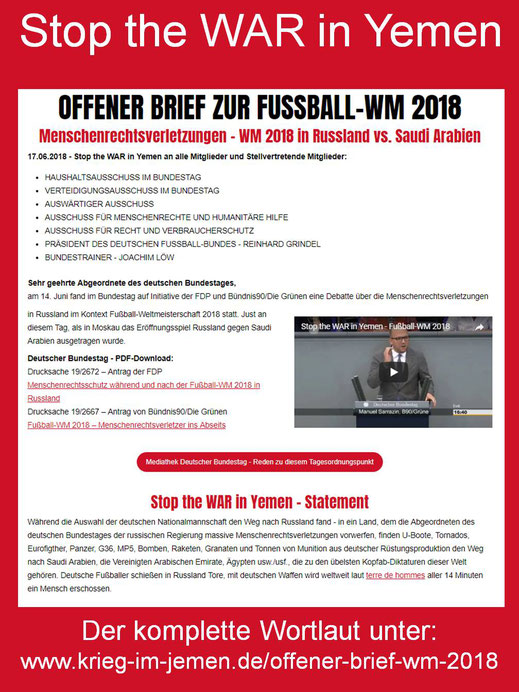 Offener Brief an Abgeordnete des deutschen Bundestages zu Menschenrechtsverletzungen – WM 2018 in Russland vs. Saudi Arabien