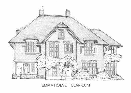 huisportret,  potlood en pen,  tekening van je huis, Erna Sinnige, Erna Wijninga, portrait du maison.