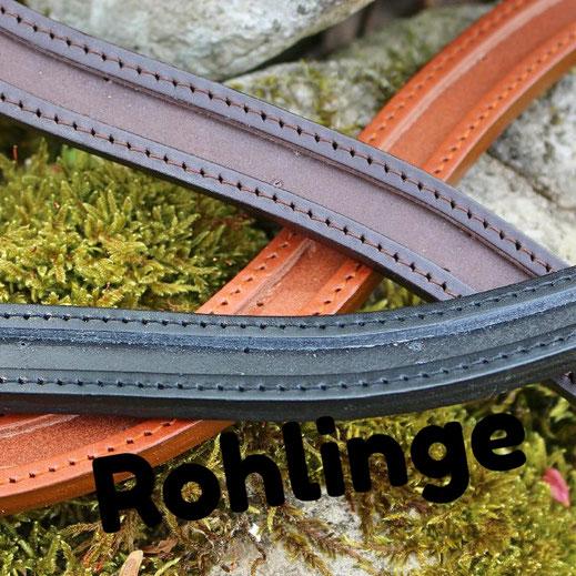 Stirnriemen Rohling, schwarz, cognac, braun, Made in Germany, schadstofffrei, hochwertiges europäisches Leder