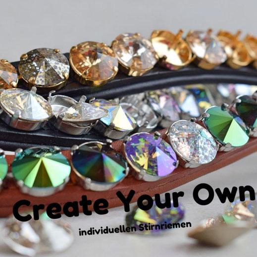 Create your own; individuelle Stirnriemen nach deinen Wünschen mit XL Swarovski oder 14mm Rivoli