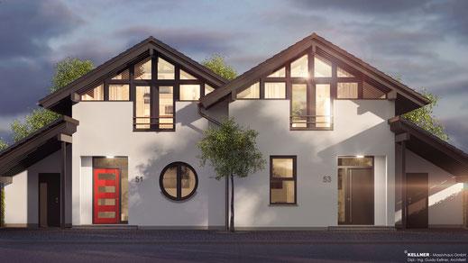 Entwurfsvorschlag - Massivhaus - Doppelhausensemble