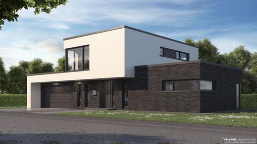 Entwurfsvorschlag - Massivhaus - Flachdachvilla