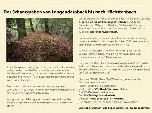 Historischer Schanzgraben von Langendernbach bis Höchstenbach  (Quelle u.a. (c) WW-Archäologie A. Tesch)