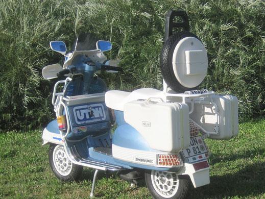 Vespa Utah Stilmotor Ariete DR Mallossi Elite Koffer Gepäckträger