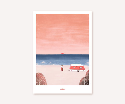 Poster Lotta Langrock – Camper, Meer, Strand, Hygge, Skandinavien, Sonnenuntergang, Urlaub, Wanddekoration, Gemälde