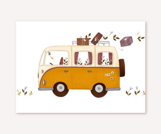 Postkarte Lotta Langrock – VW Camper, Hygge, Skandinavien, Abenteuer, Camping,