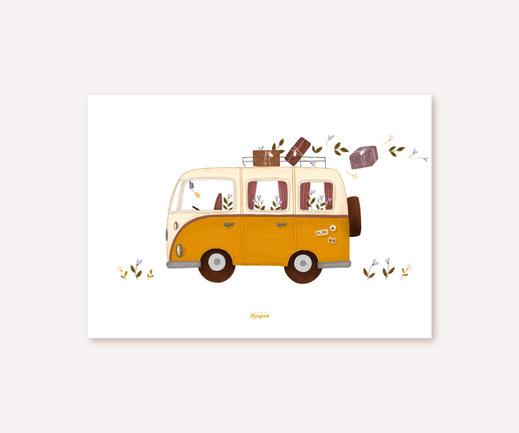 Poster Lotta Langrock – VW Bulli Camper, Hygge, Skandinavien, Abenteuer, Kinderzimmer, Camping