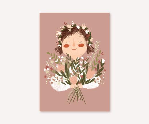Postkarte Lotta Langrock – Blumen, Mädchen, Hygge, Skandinavien, Landleben, Papeterie