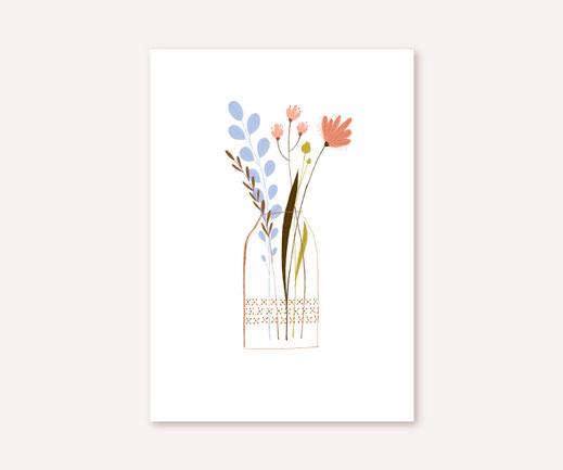 Postkarte Lotta Langrock – Pastell, Blumenvase, Minimalismus, Simpel, Hygge, Skandinavien,