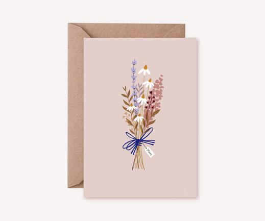 Grusskarte Klappkarte Lotta Langrock – Blumen, Hygge, Skandinavien, Merci, Glückwünsche