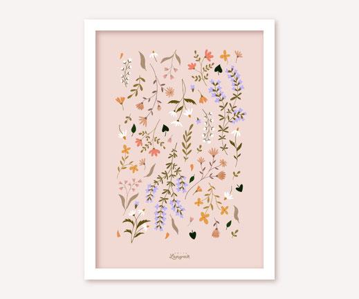 Poster Lotta Langrock – Blumen, Hygge, Skandinavien, Rosa, Blumenwiese, Schweden