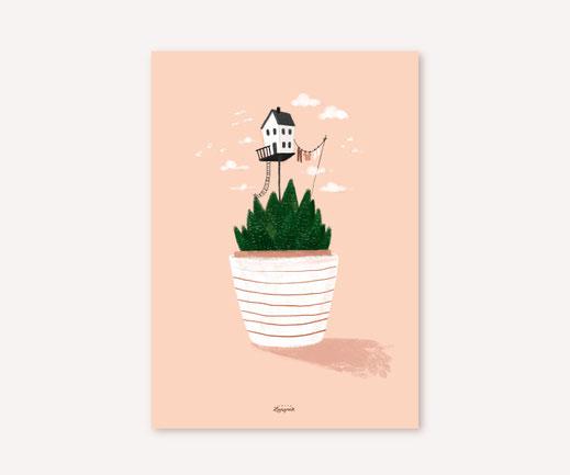Poster Lotta Langrock – Kaktee, Hygge, Skandinavien, Haus, Blume, Rosa