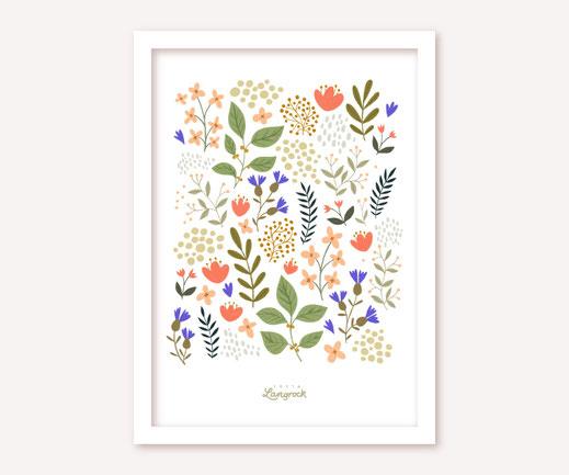 Poster Lotta Langrock – Blumen, Hygge, Skandinavien, Rosa, Grün, Lila, Blumenwiese, Schweden