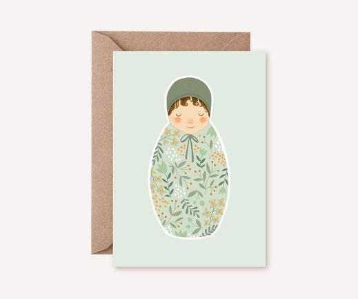Grusskarte Klappkarte Lotta Langrock – Baby, Geburt, Hygge, Skandinavien, Pastell, Mint