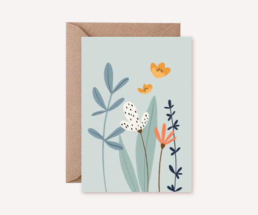 Grusskarte Klappkarte Lotta Langrock – Blumen, Pastell, Simpel, Hygge, Skandinavien, Illustration