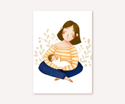 Postkarte Lotta Langrock – Mama, Muttertag, Hygge, Skandinavien, Baby, Geburt