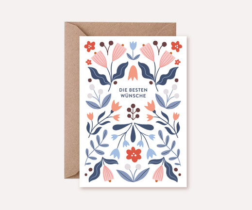 Grusskarte Klappkarte Lotta Langrock – Blumen, Hygge, Skandinavien, Rosa, Illustration