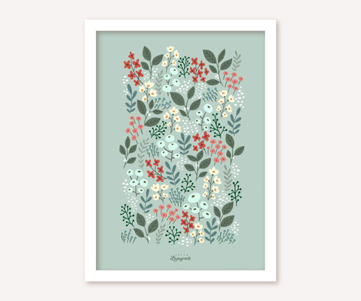Poster Lotta Langrock – Blumen, Pastell, Grün, Hygge, Skandinavien, Mint, Blumenwiese, Schweden