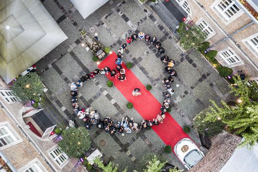 Drohne Foto Luftbild Hochzeit Herz