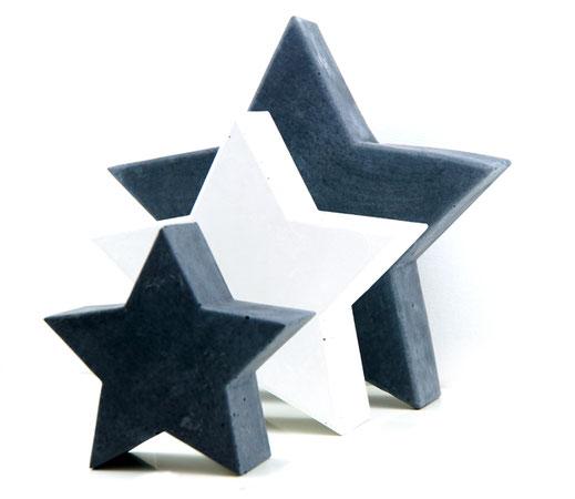 Wohnaccessoires aus Beton, Deko aus Beton, Betonsterne, Sterne aus Beton