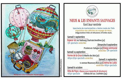 Le petit théâtre de Neus et les enfants sauvages et Émile Auté - Dates de spectacles - Illustration ©SoSimbo